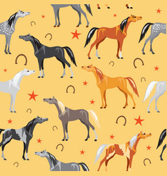 seamless pattern with colorful horses on yellow vector image vector image