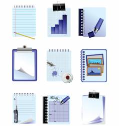 set 9 office icons vector image