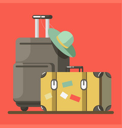 Suitcase on wheels with hat and old fashioned vector