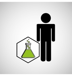 Silhouette with flask filled element laboratory vector