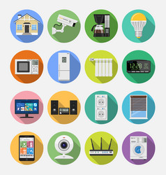 Smart house and internet of things flat icons set vector