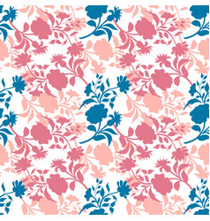 Seamless pattern with floral silhouettes vector