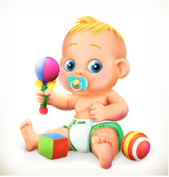 Baby and toys 3d icon vector