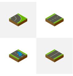 Isometric way set of asphalt plash plane and vector