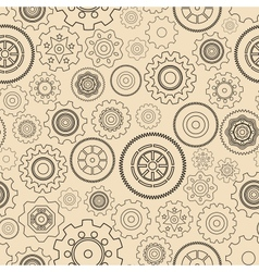Seamless gear wheels pattern vector image