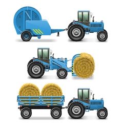 Agricultural tractor set 5 vector