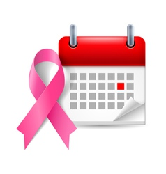 Pink awareness ribbon and calendar vector