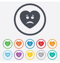 Sad heart face sign icon sadness symbol vector