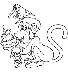 Monkey and birthday cake vector