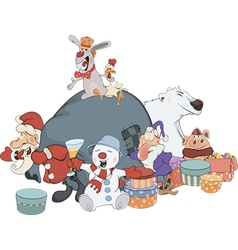 Santa claus and his helpers cartoon vector