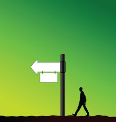 Signboard with man in nature vector
