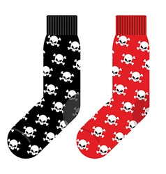 Black and red socks with skull accessories vector