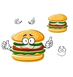Cartoon funny hamburger with vegetables vector
