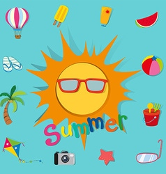 Summer theme with sun and objects vector