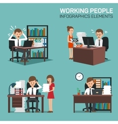 Working people infographic elements vector