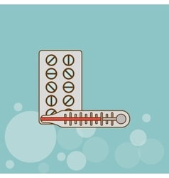 Medicine and thermometer design vector