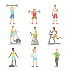 Men training in gym set vector