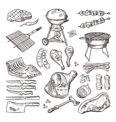 bbq hand drawn set grilled vector image