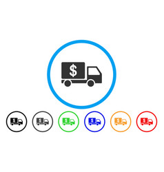 Cash delivery car rounded icon vector