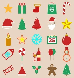 Christmas color icons on brown background vector image