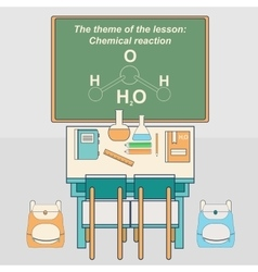 Classroom in school with desk and chalkboard vector