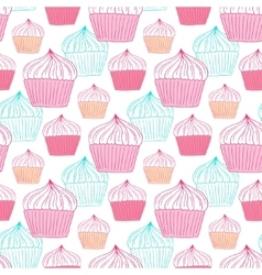 Cupcakes seamless pattern sweets background for vector