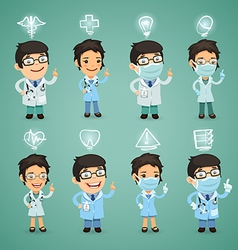Doctors with simbols set vector