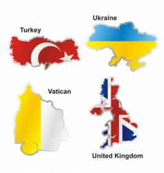 flags in map shape vector image vector image