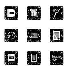 Foreign language icons set grunge style vector