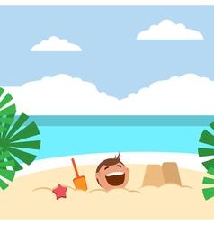 Funny kids building sand castles and playing on vector