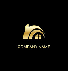 Gold house realty company logo vector