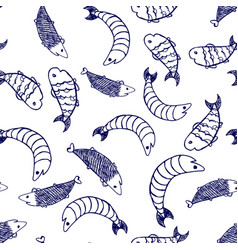 Hand drawn sketch style fish pattern vector