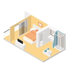Hotel room isometric detailed set vector