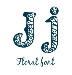 Isolated stylized calligraphic floral alphabet vector image vector image
