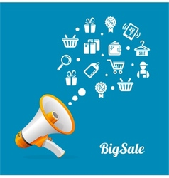 Megaphone and icon big sale concept vector