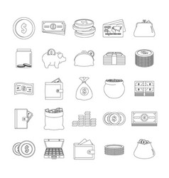 money types icons set outline style vector image
