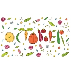 October lettering with vegetables vector