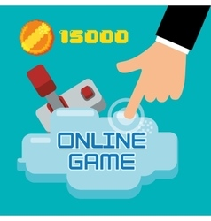 Online game hand touch joystick coin score vector