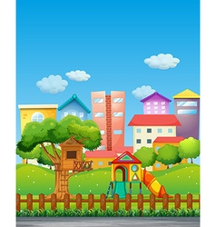 Park with playground in the neighborhood vector