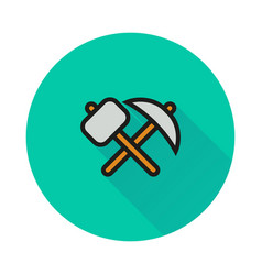 Pick-axe and hammer icon on round background vector