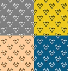 Podcast theme seamless patterns set studio table vector