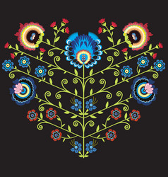Polish folk floral pattern in heart shape on black vector image vector image