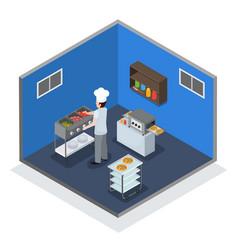 Professional kitchen interior isometric vector