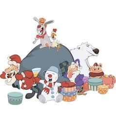 Santa Claus and his helpers cartoon vector image