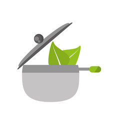 saucepan pot kitchen organic food vector image vector image