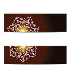 set of banners with shiny floral mandala for yoga vector image