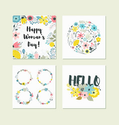 Set of cute colorful floral elements vector