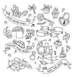 Set of doodles valentines icons signs and symbols vector