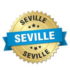 Seville round golden badge with blue ribbon vector