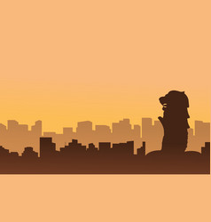 singapore city skyline scenery silhouettes vector image